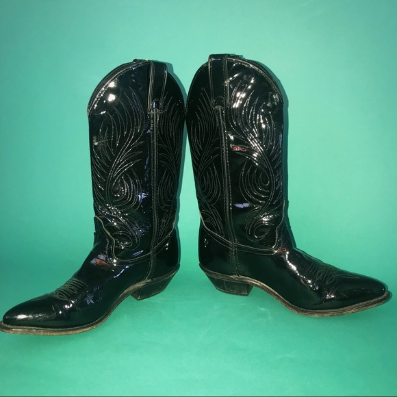 fe67b12f48ce3 80s Code West Patent Leather Cowboy Boots
